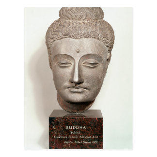 Head from a statue of the Buddha, from Postcard