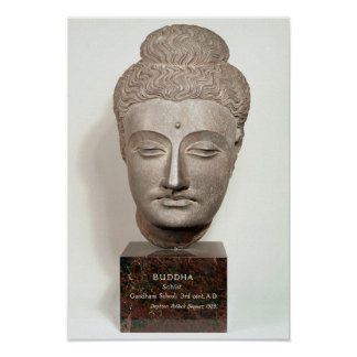 Head from a statue of the Buddha, from Poster