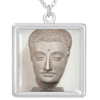 Head from a statue of the Buddha, from Silver Plated Necklace