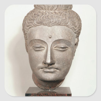 Head from a statue of the Buddha, from Square Sticker