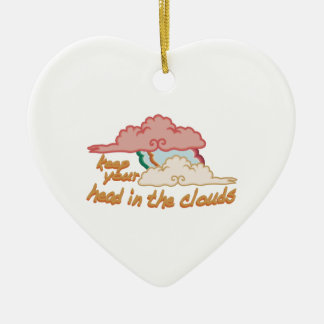 Head In Clouds Double-Sided Heart Ceramic Christmas Ornament