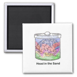 Head in the Sand 2 Inch Square Magnet