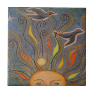 Head in the sky small square tile