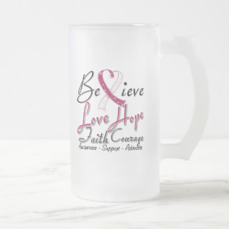 Head Neck Cancer Believe Heart Collage 16 Oz Frosted Glass Beer Mug