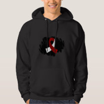 Head Neck Cancer Burgundy White Ribbon With Scribb Hoodie