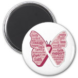 Head Neck Cancer Butterfly Collage of Words Fridge Magnet