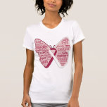 Head Neck Cancer Butterfly Collage of Words T Shirts