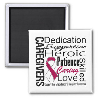 Head Neck Cancer Caregivers Collage 2 Inch Square Magnet