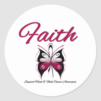 Head Neck Cancer Faith Butterfly Ribbon Classic Round Sticker