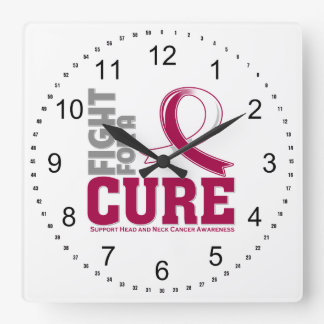 Head Neck Cancer Fight For A Cure Square Wall Clock
