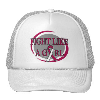 Head Neck Cancer Fight Like A Girl Circular Trucker Hats