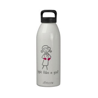 Head Neck Cancer Fight Like A Girl (Retro) Reusable Water Bottles