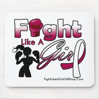 Head Neck Cancer Fight Like A Girl Silhouette Mouse Pad