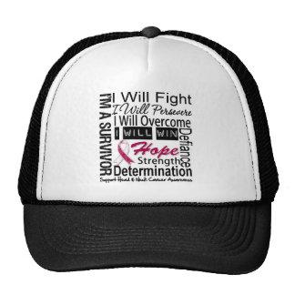 Head Neck Cancer Fight Persevere Overcome Win Mesh Hat