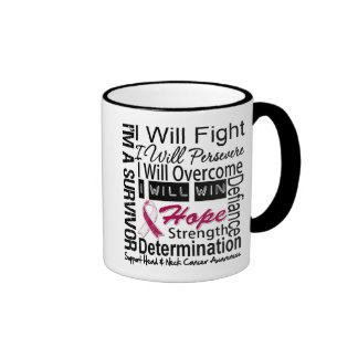 Head Neck Cancer Fight Persevere Overcome Win Ringer Coffee Mug