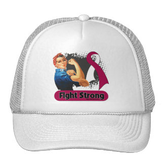 Head Neck Cancer Fight Strong Rosie Riveter Mesh Hat