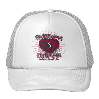 Head Neck Cancer Heart I Fight Like A Girl Mesh Hats