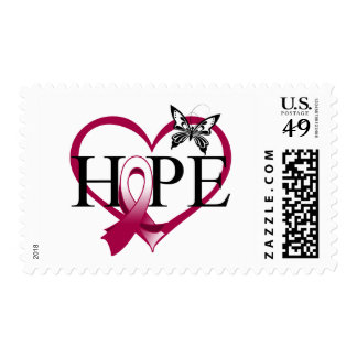 Head Neck Cancer Hope Butterfly Heart Décor Postage Stamps