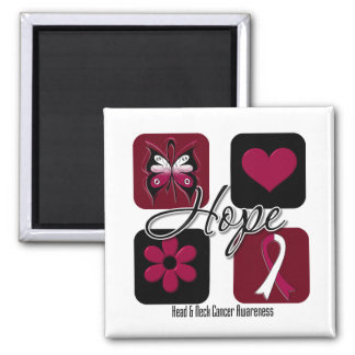 Head Neck Cancer Hope Love Inspire Awareness 2 Inch Square Magnet