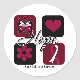Head Neck Cancer Hope Love Inspire Awareness Classic Round Sticker