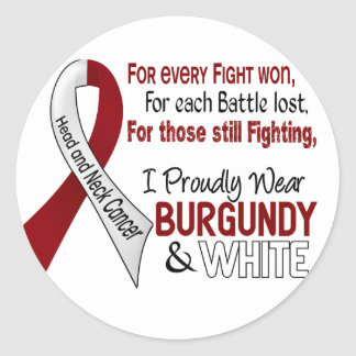 Head & Neck Cancer I Proudly Wear Burgundy White 1 Classic Round Sticker