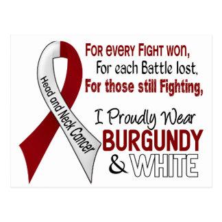 Head & Neck Cancer I Proudly Wear Burgundy White 1 Postcard