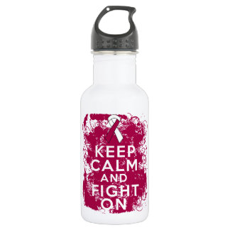 Head Neck Cancer Keep Calm and Fight On 18oz Water Bottle
