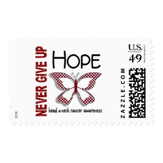 Head Neck Cancer Never Give Up Hope Butterfly 4.1 Postage Stamp
