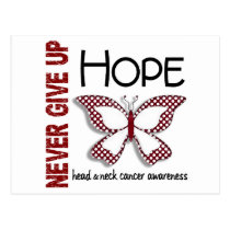 Head Neck Cancer Never Give Up Hope Butterfly 4.1 Postcard