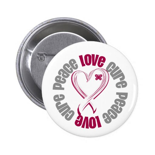 Head Neck Cancer Peace Love Cure Ribbon 2 Inch Round Button