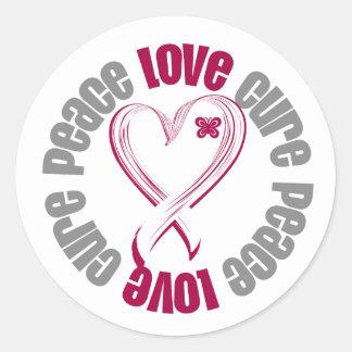 Head Neck Cancer Peace Love Cure Ribbon Classic Round Sticker
