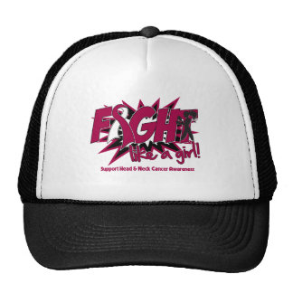 Head Neck Cancer POW Style Fight Like A Girl Mesh Hats