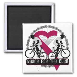 Head Neck Cancer Riding For The Cure 2 Inch Square Magnet