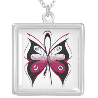 Head Neck Cancer Stylish Butterfly Ribbon Square Pendant Necklace