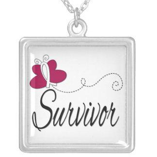 Head Neck Cancer Survivor Butterfly Ribbon Square Pendant Necklace