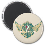 Head Neck Cancer Survivor Vintage Winged Magnets