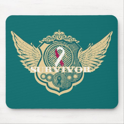 Head Neck Cancer Survivor Vintage Winged Mouse Pads