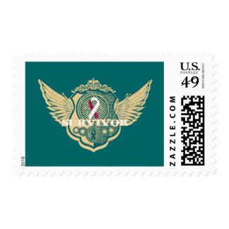 Head Neck Cancer Survivor Vintage Winged Stamp