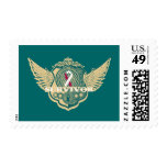 Head Neck Cancer Survivor Vintage Winged Stamp