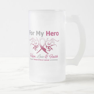 Head Neck Cancer Tribal Ribbon Hero 16 Oz Frosted Glass Beer Mug