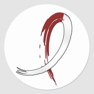 Head Neck Cancer's Burgungy and White Ribbon A4 Classic Round Sticker