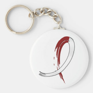 Head Neck Cancer's Burgungy and White Ribbon A4 Keychain
