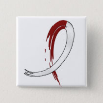 Head Neck Cancer's Burgungy and White Ribbon A4 Pinback Button