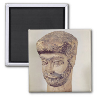 Head of a beaded man, c.1800 BC 2 Inch Square Magnet