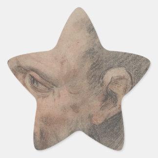 Head of a Bearded Man Looking Left Star Sticker
