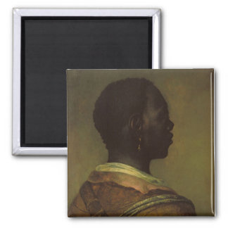Head of a Black Man 2 Inch Square Magnet