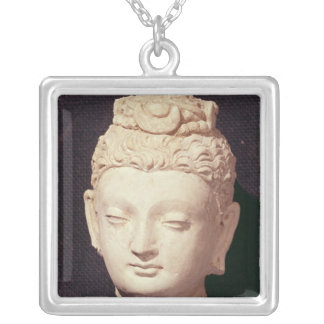 Head of a Buddha, Greco-Buddhist style Silver Plated Necklace