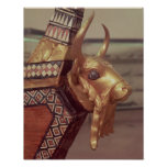Head of a bull, decoration from a harp poster