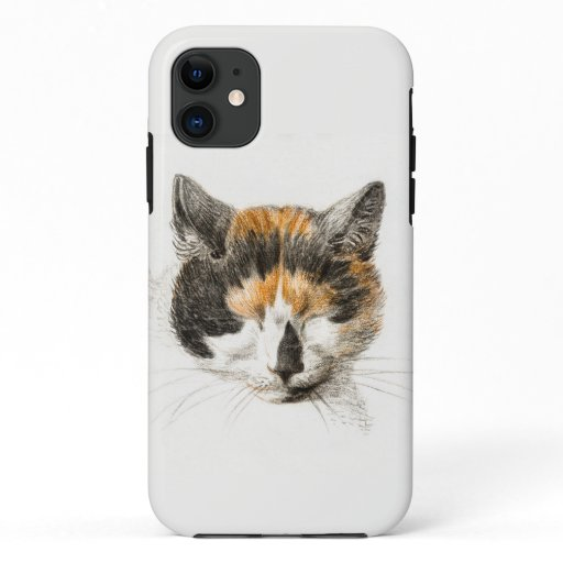 Head of a calico cat with closed eyes poster iPhone 11 case