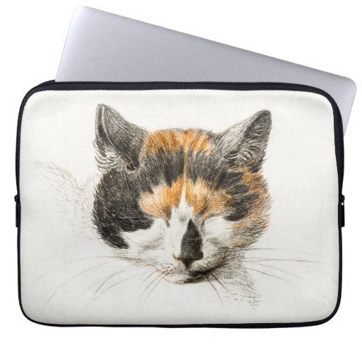 Head of a calico cat with closed eyes poster laptop sleeve